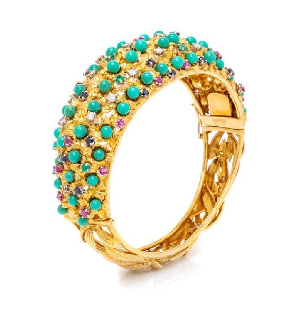 An 18 Karat Yellow Gold, Turquoise, Diamond and
