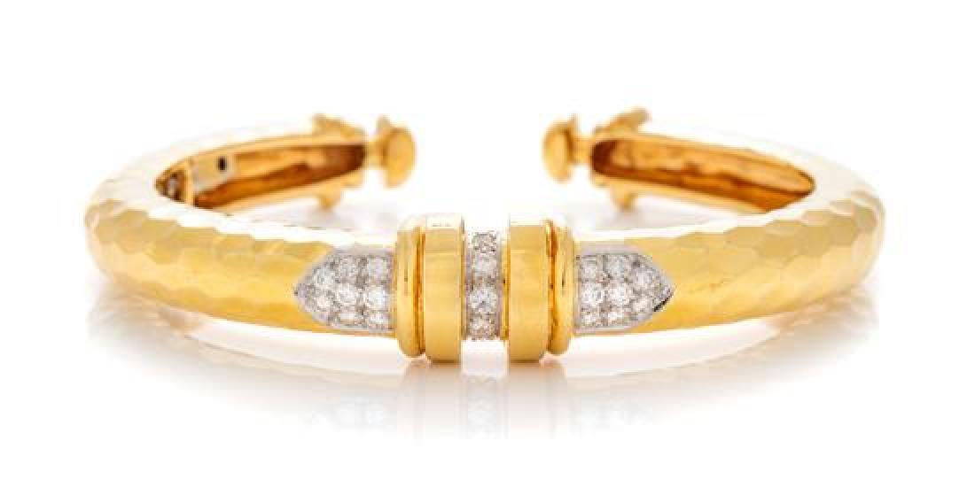 An 18 Karat Yellow Gold, Platinum and Diamond Cuff