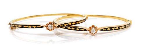 A Pair of Victorian Yellow Gold Diamond and Enamel