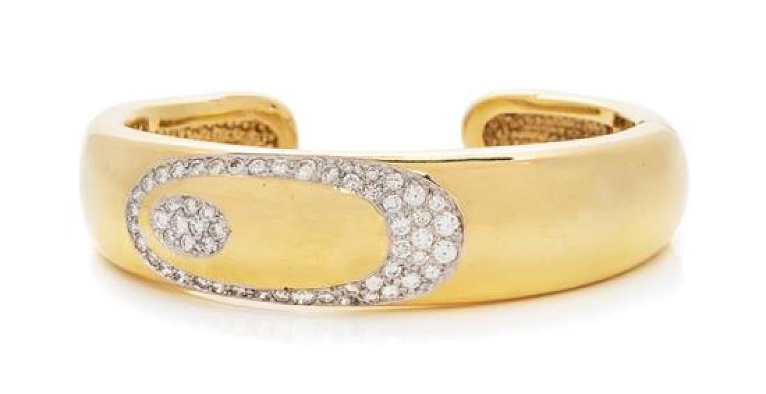 A 14 Karat Yellow Gold and Diamond Cuff Bracelet, 27.00