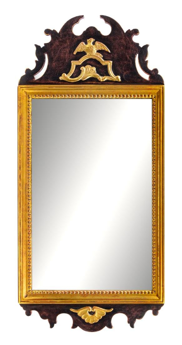 A Federal Style Parcel Gilt Mahogany Mirror Height 45 x