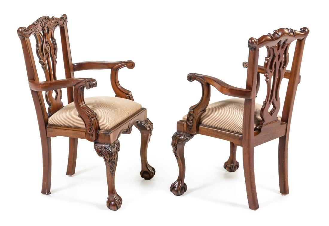 A Pair of Chippendale Style Walnut Child's Armchairs