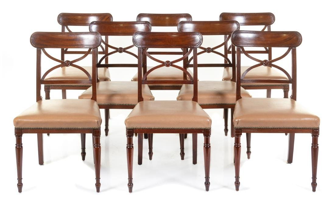 A Set of Twelve Regency Style Mahogany Side Chairs