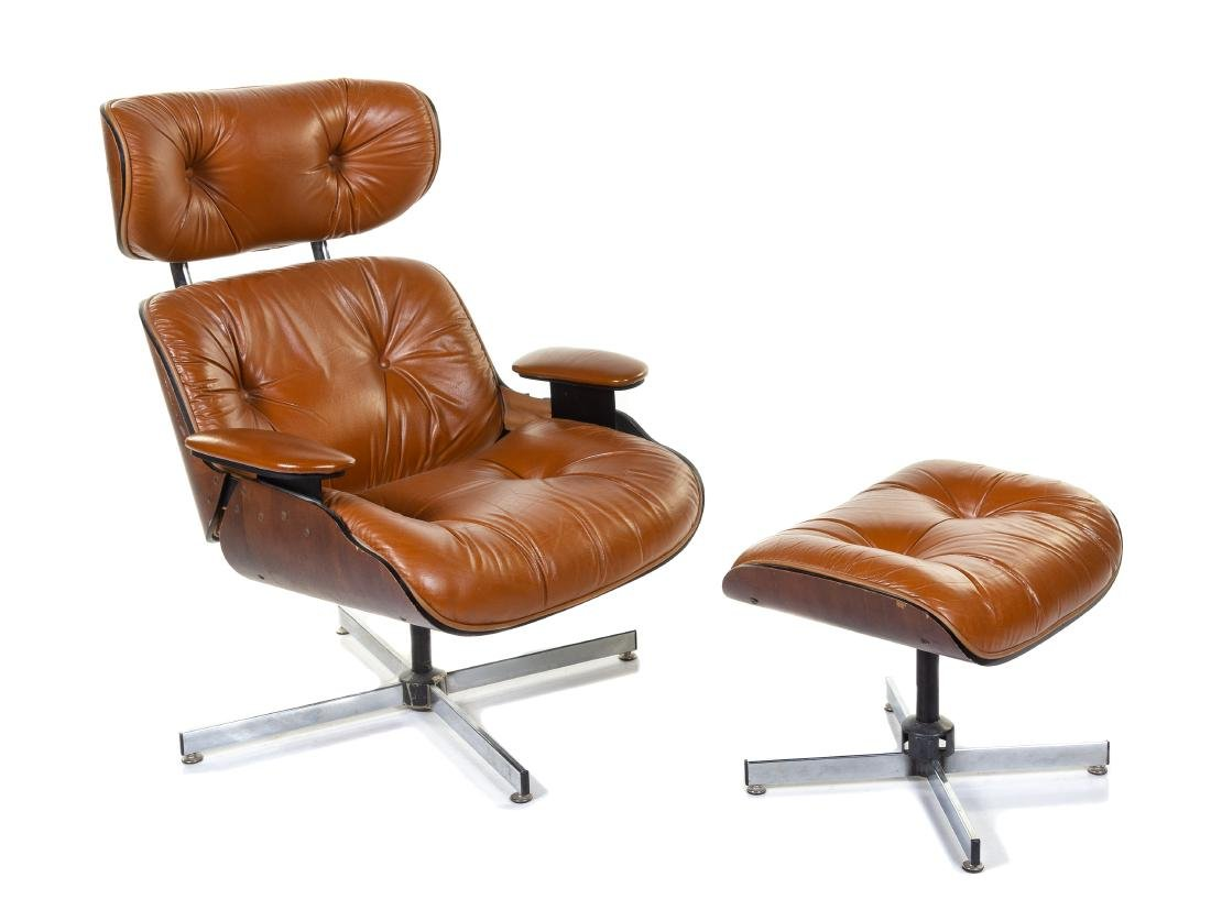 An Eames Style Lounge Chair and Ottoman Height 39