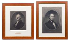 Two Framed Presidential Portraits Largest 21 x 16