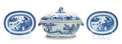 Three Chinese Export Canton Blue and White Porcelain