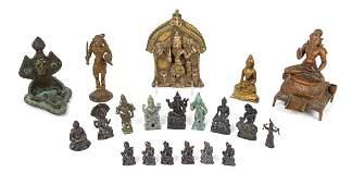 Nineteen Asian Bronze Figures of Deities Height of