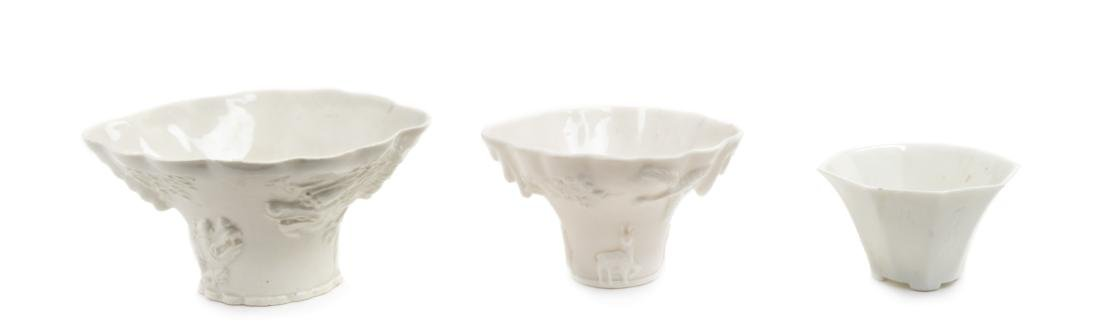 Three Chinese Blanc-de-Chine Porcelain Libation Cups