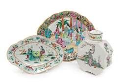 * Three Chinese Famille Rose Porcelain Articles Length