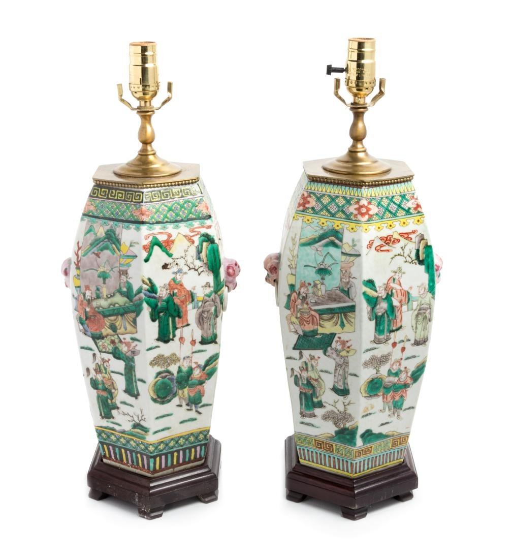 A Pair of Chinese Famille Verte Vases Height overall 22