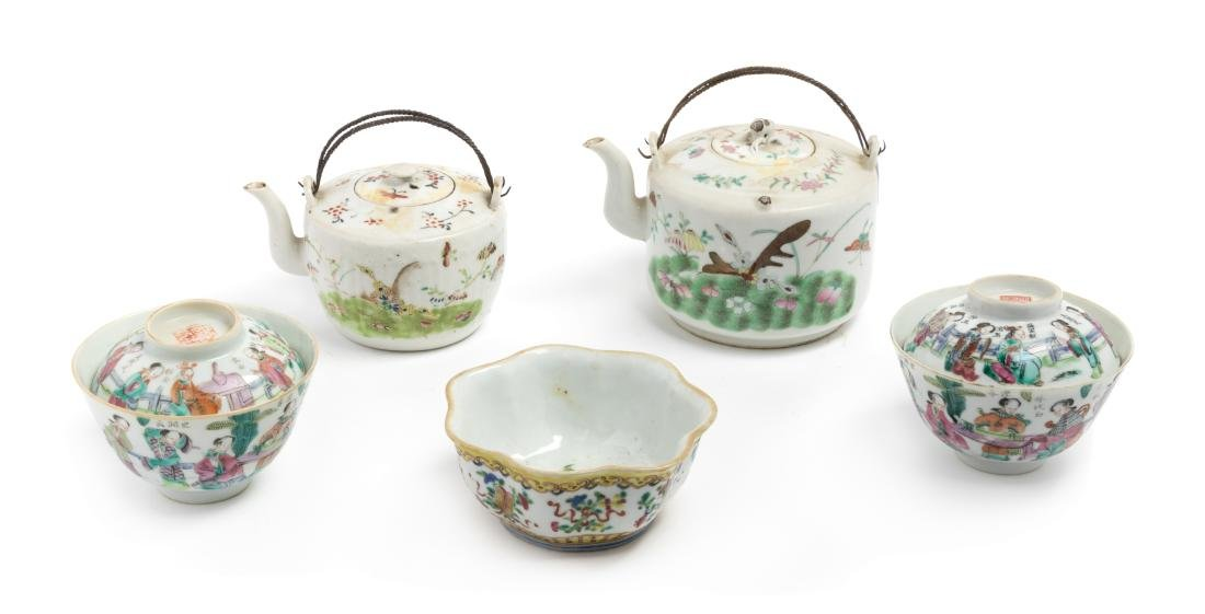Five Chinese Famille Rose Porcelain Tea Wares Height of