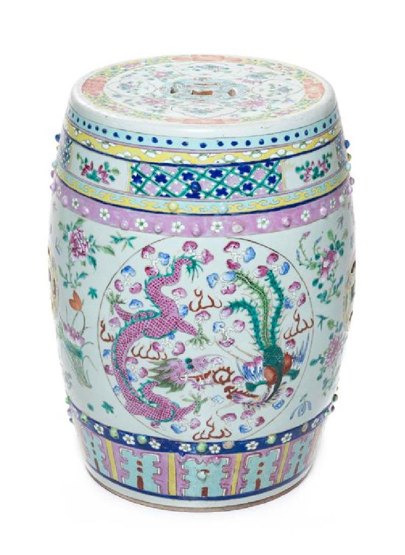 * A Chinese Famille Rose Porcelain Garden Stool Height