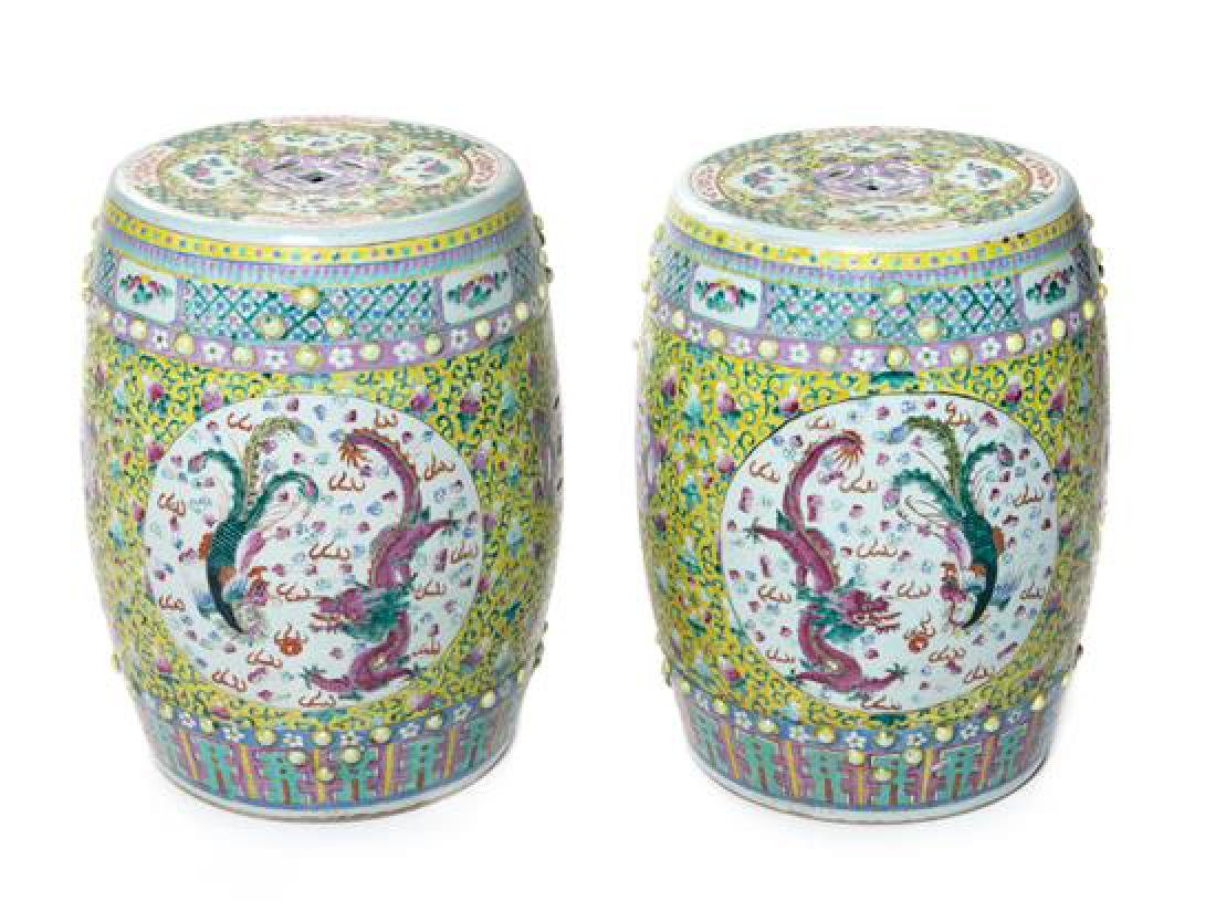 * A Pair of Chinese Famille Rose Porcelain Garden