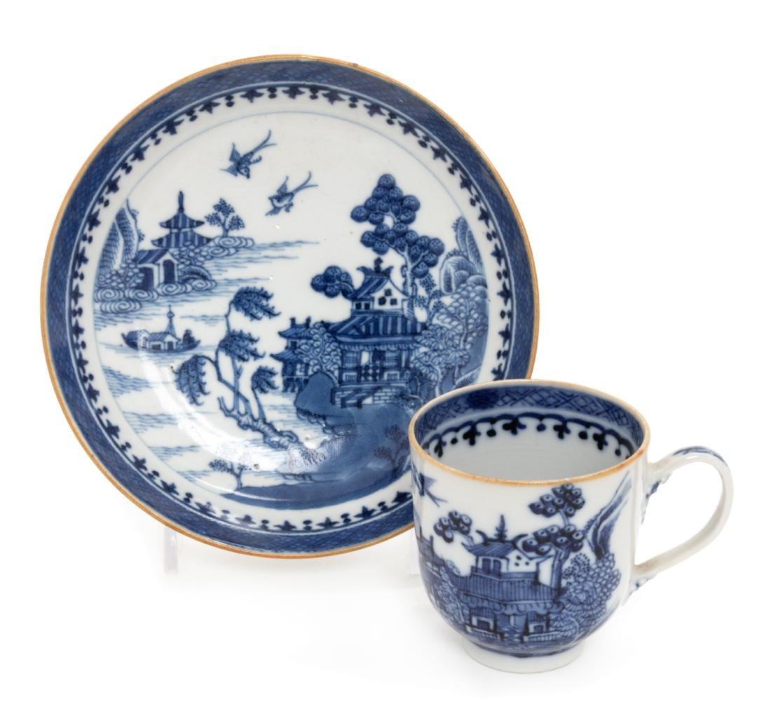 * A Chinese Export Canton Blue and White Porcelain Cup
