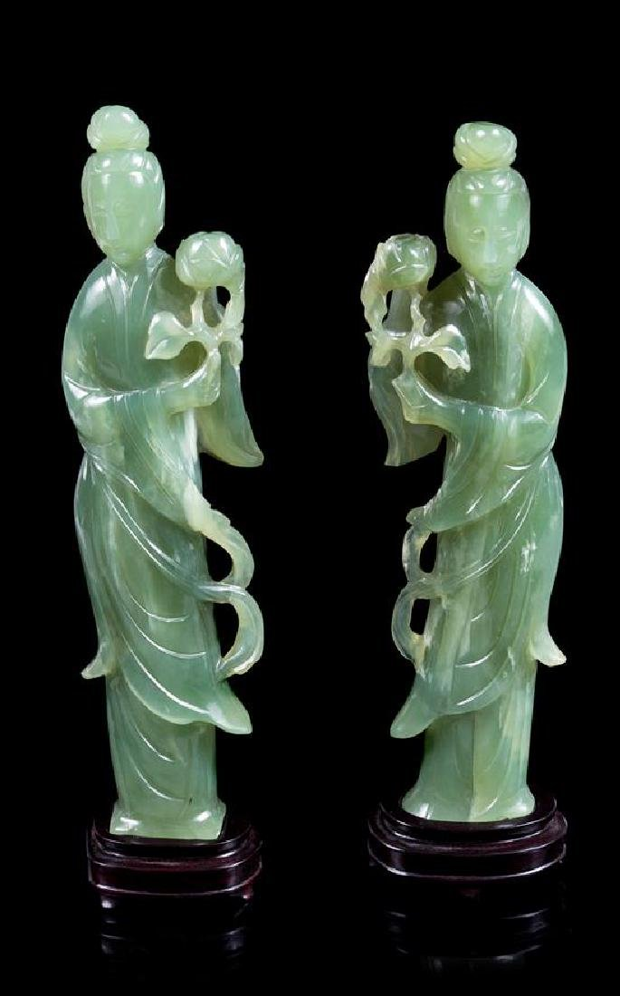 A Pair of Chinese Carved Green Hardstone Figures of