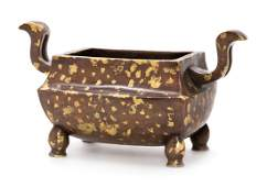 A Chinese Gilt Splashed Bronze Censer Height 5 inches.