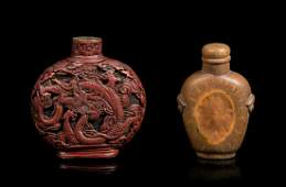 Two Chinese Snuff Bottles Height of larger 2 12