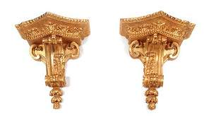 A Pair of French Giltwood Wall Brackets Height 19 x