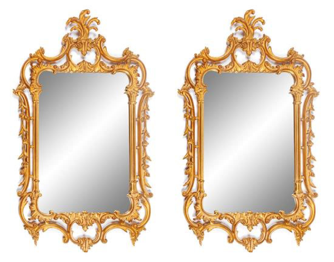 A Pair of Louis XV Style Gilt Mirrors Height 50 x width