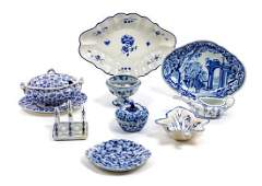 A Group of Blue and White Porcelain Table Articles