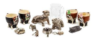* A Group of Fourteen Bulldog Figures and Cups Height