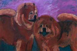 Three Works of Art depicting Chow Chows Largest 20 x