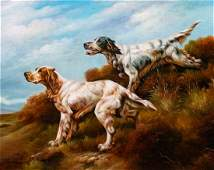 * Three Works of Art depicting English Setters Largest: