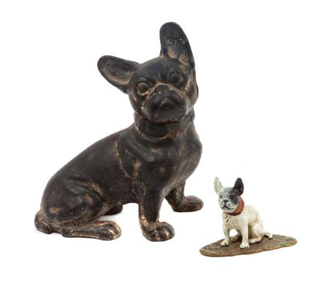 * Two Metal French Bulldogs Height of taller 7 3/4