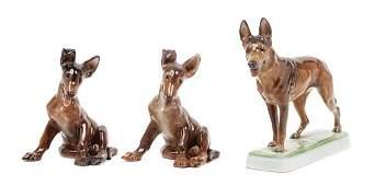 A Group of Three Rosenthal Porcelain German Shepherds
