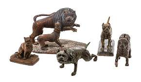 * A Group of Five Mastiff Figures Width of widest 7 1/4