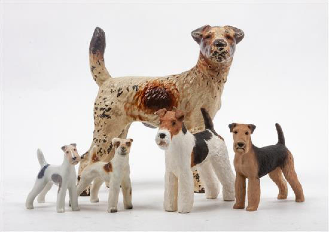 * A Group of Five Wire Fox Terriers Width of widest 8
