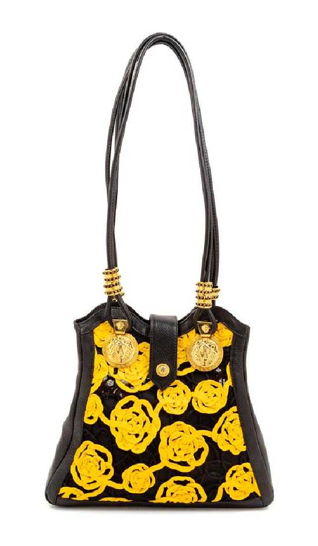 1d20c2f56e3f Gianni Versace Black Yellow Floral Handbag