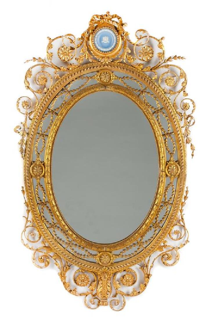 A Louis XVI Style Giltwood Mirror Height 59 x width 36