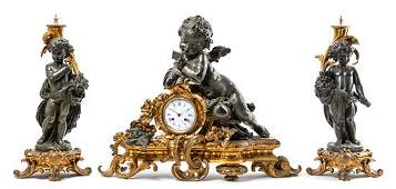 A Large French Gilt and Patinated Bronze Clock