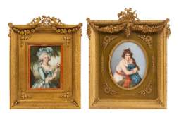 Two Continental Portrait Miniatures Larger overall: