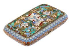 A Russian Silver and Enamel Cigarette Case, Mark of