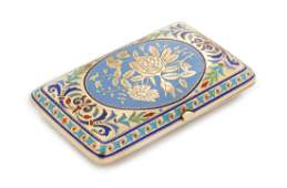 * A Russian Silver and Enamel Cigarette Case, Mark of