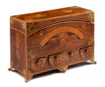 An English Marquetry and Mahogany Jewelry Casket Height