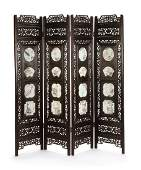 A Chinese Porcelain Inset Four-Panel Screen Height 72 x