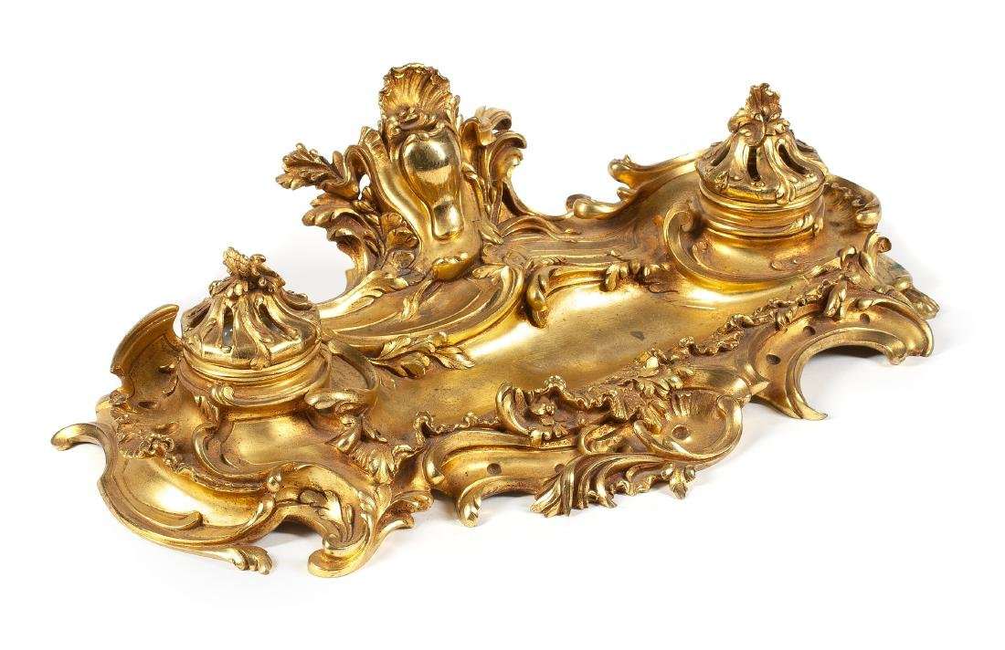 A Louis XV Style Gilt Bronze Encrier Width 16 inches.