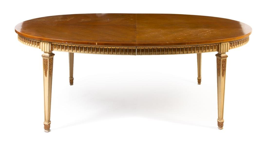 A Louis XVI Style Painted and Parcel Gilt Extension