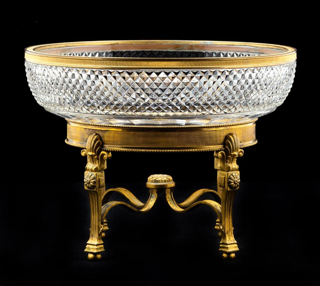 A French Gilt Bronze Mounted Cut Glass Bowl Diameter 8