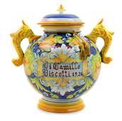 An Italian Majolica Jar Height 17 inches.