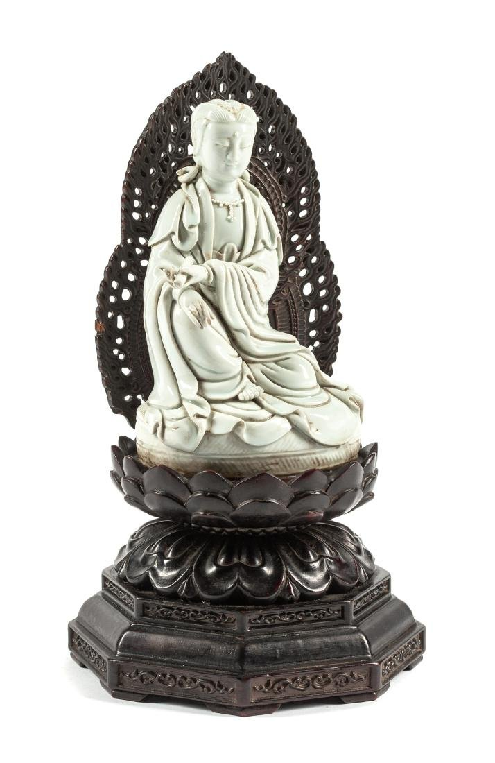 A Chinese Blanc-de-Chine Figure of Guanyin Height