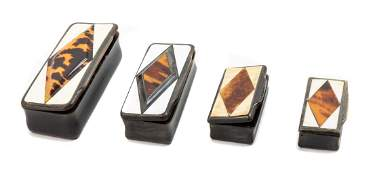 Four Carved Horn and Tortoise Shell Inlaid Snuff Boxes
