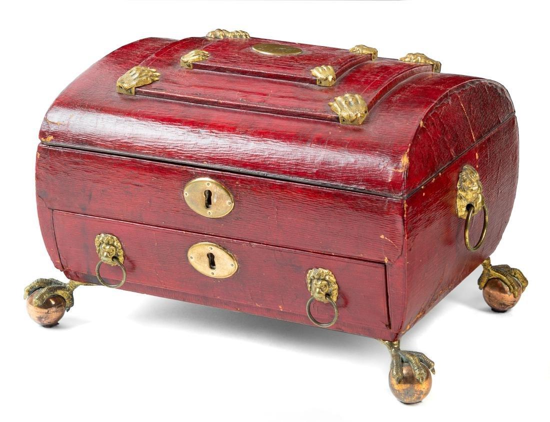 An English Leather Veneered Jewelry Box Height 7 1/2 x