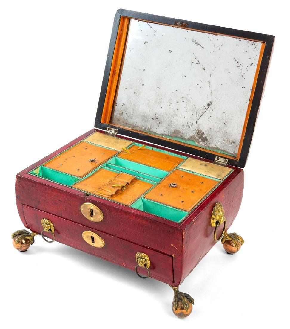 An English Leather Veneered Jewelry Box Height 7 1/2 x - 2