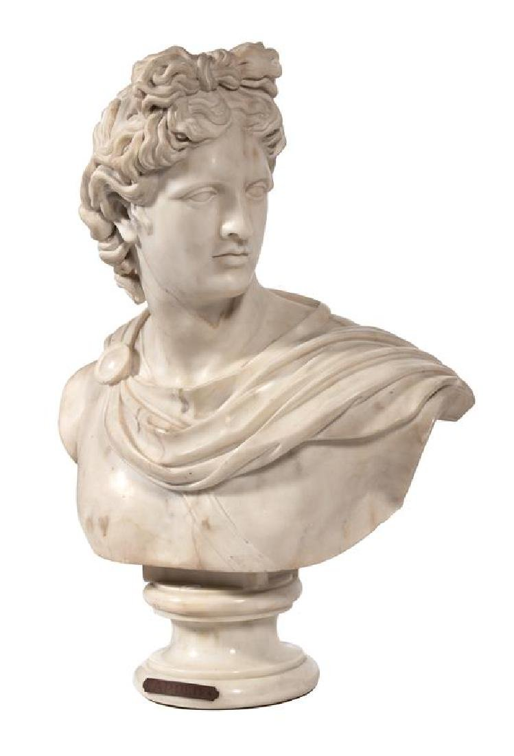 An Italian White Marble Bust of Apollo