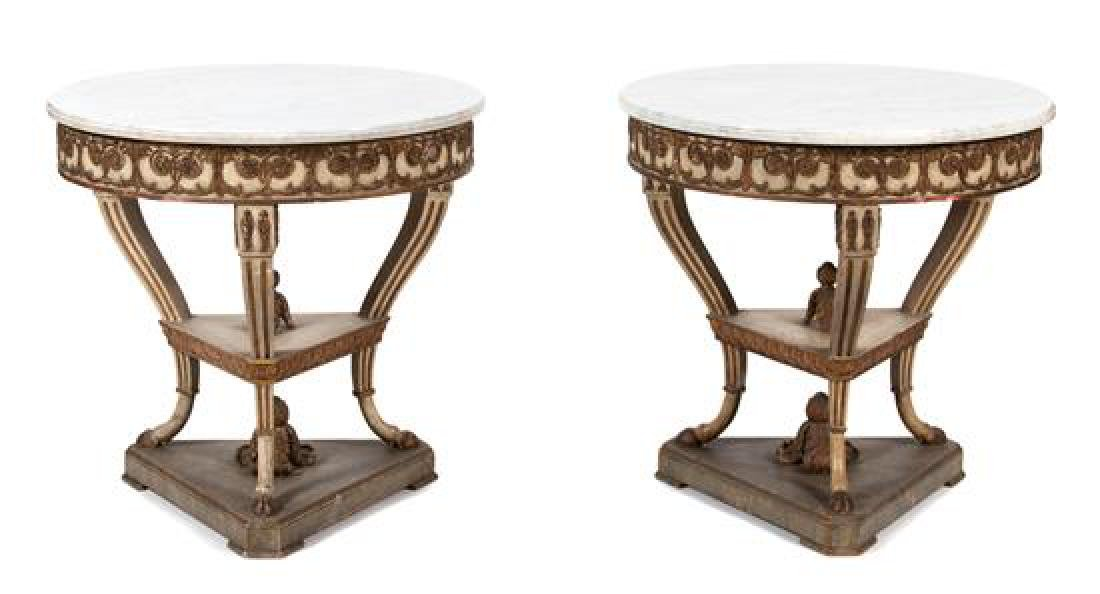 A Pair of Italian/Louis XV Style Marble Top Round