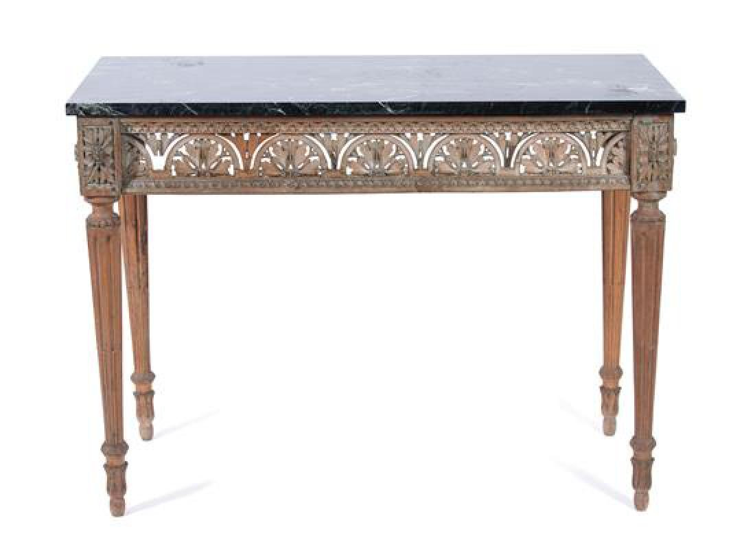 A Louis XVI Style Painted and Marble Top Console